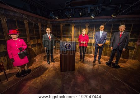 Prague, Czech republic, July 22, 2017: Queen Elizabeth II, Vaclav Havel, Angela Merkel, Barack Obama and Donald Trump in Grevin museum of the wax figures in Prague.