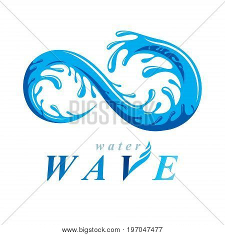 Pure water vector abstract sign for use as business emblem in spa and resort organizations. Living in harmony with nature concept. Infinity.