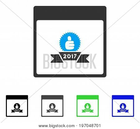 2017 Award Ribbon Calendar Page flat vector pictogram. Colored 2017 award ribbon calendar page gray, black, blue, green icon versions. Flat icon style for application design.