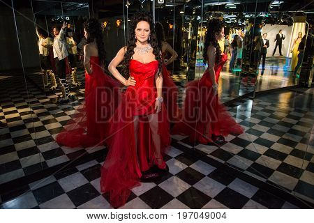 Prague, Czech republic, July 22, 2017: Lucie Bile in Grevin museum of the wax figures in Prague.