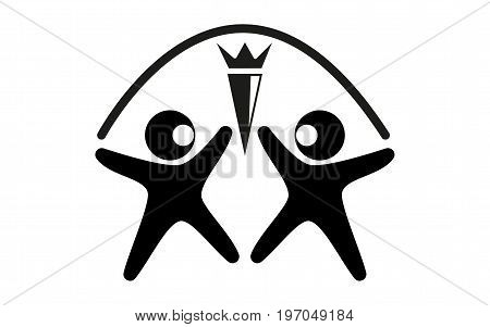 Vector black and white logo two figures of a man of black color with open arms with white highlights on his head opposite each other with a torch between them and an arc over heads on a white background.