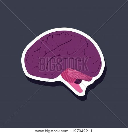 brain paper sticker on stylish background medical