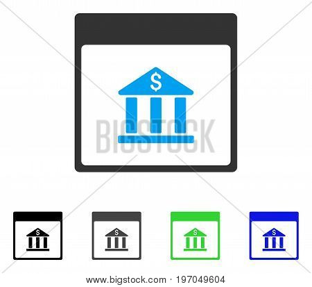 Bank Building Calendar Page flat vector pictograph. Colored bank building calendar page gray, black, blue, green pictogram variants. Flat icon style for web design.