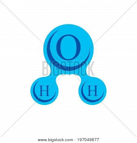 Global water circulation conceptual logotype H2O vector illustration best for use to show drinking water world problems.