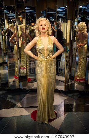 Prague, Czech republic, July 22, 2017: Marilyn Monroe in Grevin museum of the wax figures in Prague.