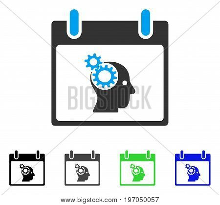 Brain Gears Calendar Day flat vector icon. Colored brain gears calendar day gray, black, blue, green pictogram variants. Flat icon style for graphic design.