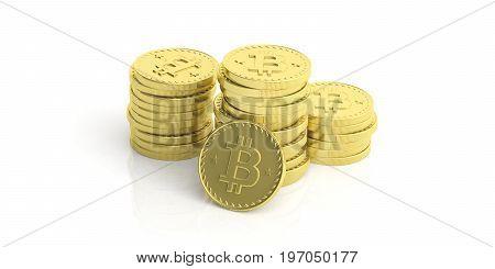 Bitcoins Stack On White Background. 3D Illustration
