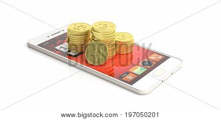 Bitcoins Stack On A Smartphone - White Background. 3D Illustration