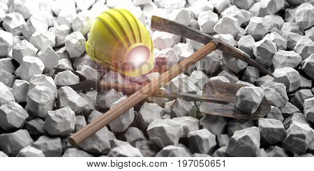 Miner's Equipment On White Stones Background. 3D Illustration
