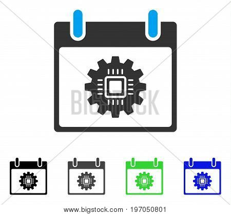 Chip Gear Calendar Day flat vector icon. Colored chip gear calendar day gray, black, blue, green icon variants. Flat icon style for web design.