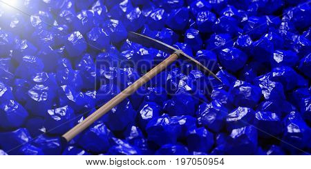 Pickaxe On Blue Stones Background. 3D Illustration