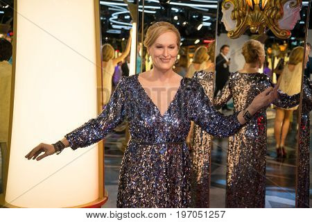 Prague, Czech republic, July 22, 2017: Maryl Streep in Grevin museum of the wax figures in Prague.