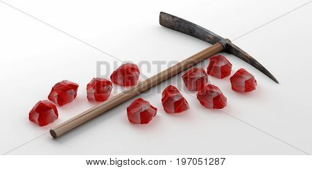 Pickaxe And Red Stones On White Background. 3D Illustration