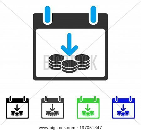 Coins Income Calendar Day flat vector pictogram. Colored coins income calendar day gray, black, blue, green icon versions. Flat icon style for graphic design.