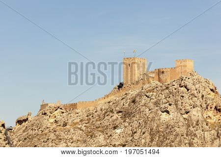 View of the historic castle Sax on top of a mountain. Province of Alicante southern Spain