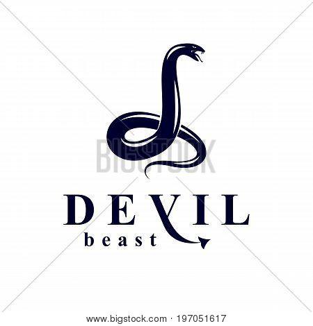 Vector poisonous snake evil spirit black graphic vector emblem.