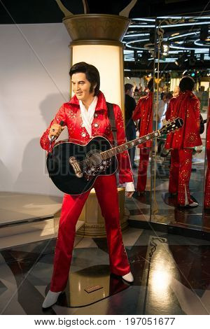 Prague, Czech republic, July 22, 2017: Elvis Presley in Grevin museum of the wax figures in Prague.