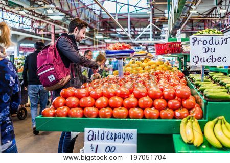 Montreal, Canada - May 27, 2017: Man Buying Produce By Tomato Stand With Sample Slices At Jean-talon