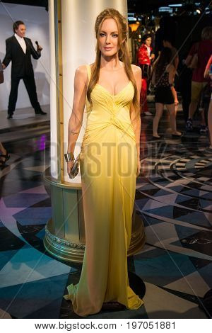 Prague, Czech republic, July 22, 2017: Angelina Jolie in Grevin museum of the wax figures in Prague.