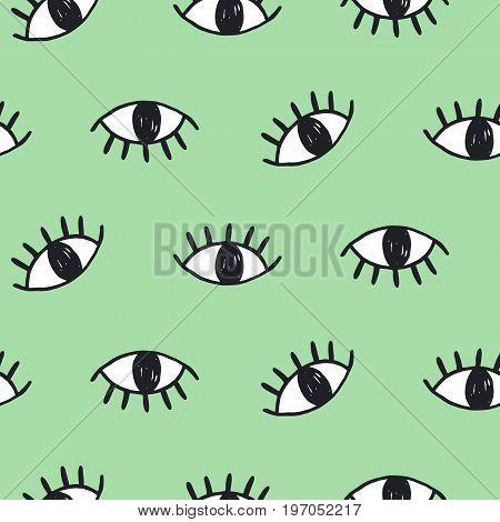 Modern hand drawn eye doodles seamless pattern, on green background. Trendy hipster art design