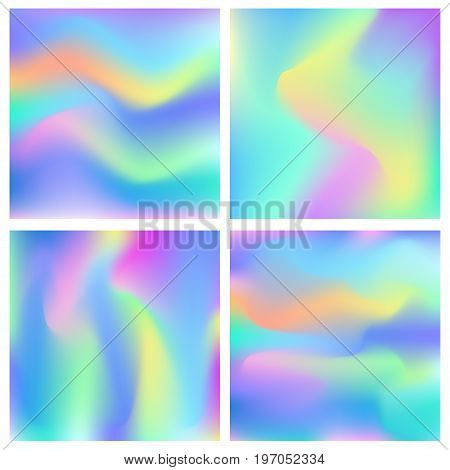 Holographic abstract background set. Cosmic surreal texture. Vector illustration in neon colors, 80s 90s trendy style design.