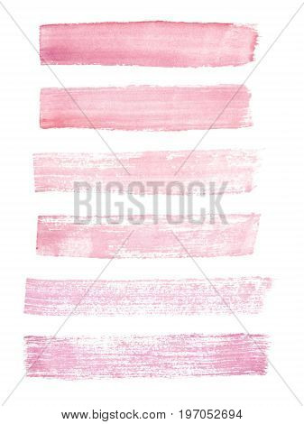 Hand painted pink watercolor grunge brush strokes isolated on the white background. Textures for your design.