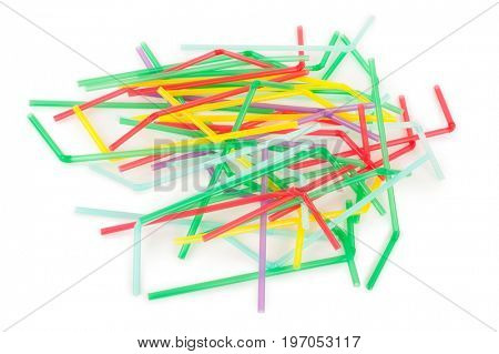 Colorful drinking straws on white background