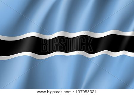 Botswana flag. National patriotic symbol in official country colors. Illustration of Africa state waving flag. Realistic vector icon