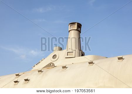 Cartagena Spain - May 28 2017: Turret of the historic Peral submarine in the city of Cartagena Murcia province Spain