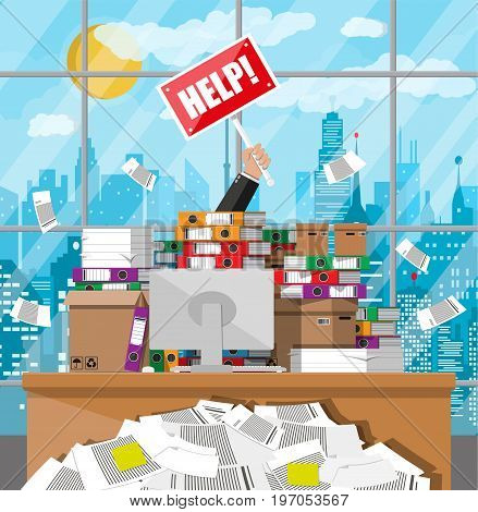 Stressed businessman in pile of office papers and documents with help sign. Stress at work. Overworked. File folders. Carton boxes. Bureaucracy, paperwork. Cityscape. Vector illustration in flat style