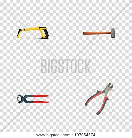 Set Of Tools Realistic Symbols Also Includes Instrument, Pliers, Arm Objects.  Realistic Handle Hit, Tongs, Forceps Vector Elements.
