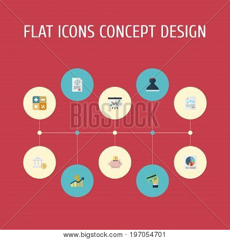 Flat Icons Net Income, Moneybox, Pie Bar And Other Vector Elements