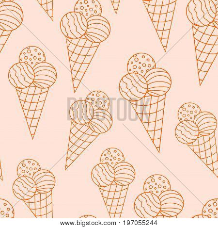 Hand drawn colorful seamless pattern with ice cream with three balls in the waffle cup with doodle counter. Vector illustration.