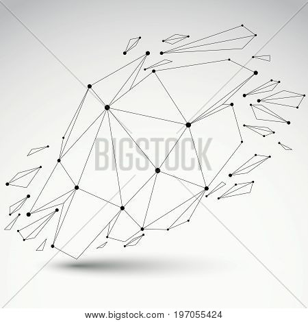 3d vector low poly deformed object with black connected lines and dots transparent geometric wireframe shape with refractions. Asymmetric perspective shattered form.