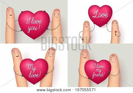 Fingers holding red heart collection. Wonderful love message for a special close person. Flat style vector realistic illustration isolated on white background