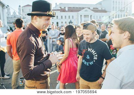 MINSK, BELARUS.JULY 22, 2017Street Theater Magicians on the street