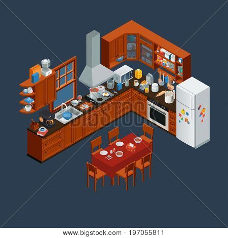 isometric wooden kitchen interior and utensils tools, isolated vector illustration.