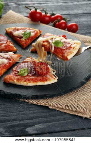 Hot True Pepperoni Italian Pizza With Salami And Cheese. Top Vie