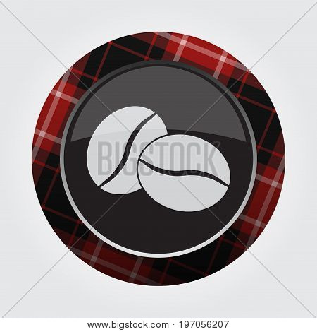 black isolated button with red black and white tartan pattern on the border - light gray two coffee beans icon in front of a gray background