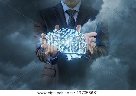 Businessman Hand Shows Brain .