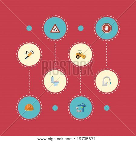 Flat Icons Hardhat, Pneumatic, Caution And Other Vector Elements