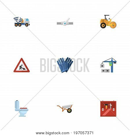 Flat Icons Hoisting Machine, Handcart, Mitten Vector Elements