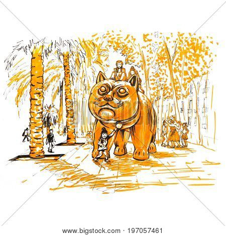 Botero Cat, known as El Gato de Botero, on Boulevard Raval in Barcelona. Picture made orange marker and liner