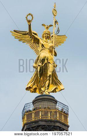 BERLIN GERMANY - JUNE 14 2015: Goldelse (Golden Lizzy). Fragment of Berlin Victory Column close-up.