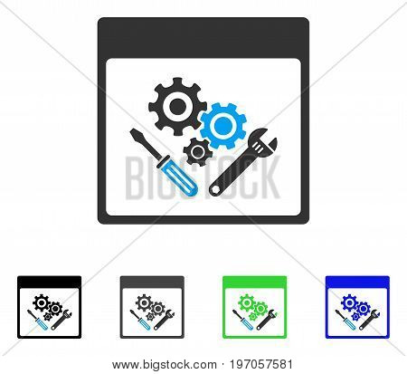 Gear Tools Calendar Page flat vector pictogram. Colored gear tools calendar page gray, black, blue, green icon versions. Flat icon style for application design.