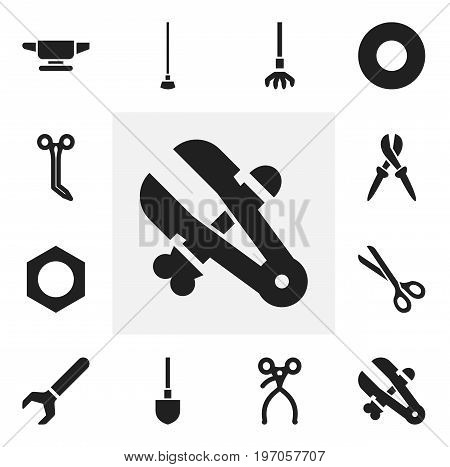 Set Of 12 Editable Tools Icons. Includes Symbols Such As Retractor, Pliers, Spade And More