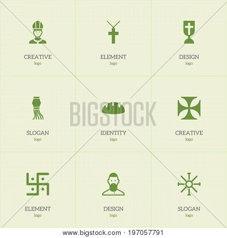 Set Of 9 Editable Faith Icons. Includes Symbols Such As Religious Sign, Baguette, Catholic Crucifix And More
