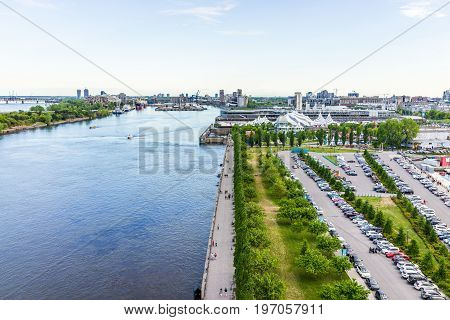 Montreal, Canada - May 27, 2017: Aerial View Of Old Port Area With Many Boats And Downtown In City I
