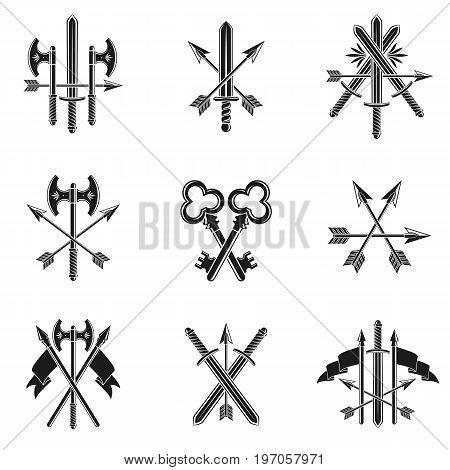 Vintage Weapon Emblems set. Heraldic Coat of Arms vintage vector emblems collection.
