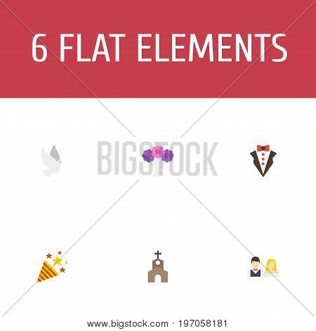 Flat Icons Posy, Sparkler, Bridegroom Dress And Other Vector Elements